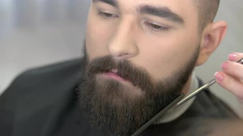 Barber with Scissors Trimming Beard