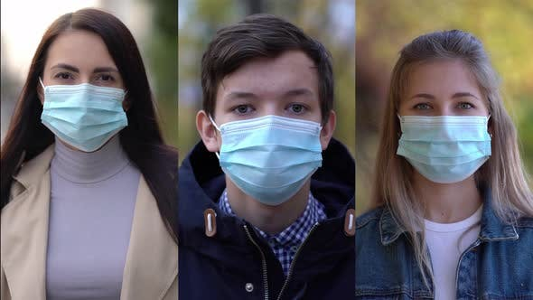 Thumbnail for Group of People Wearing Face Protection Mask in Prevention for Coronavirus Covid 19