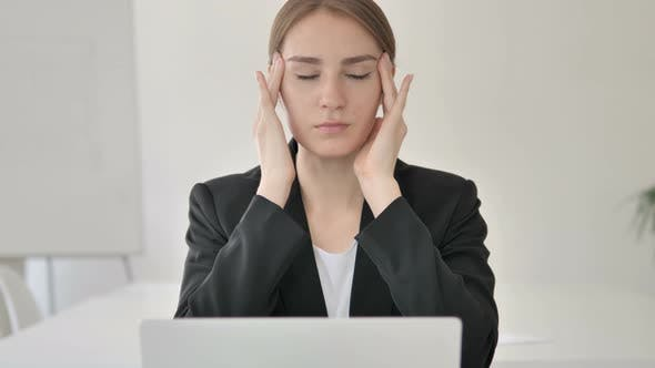 Thumbnail for Close Up of Young Businesswoman with Headache Working on Laptop