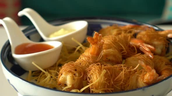 Thumbnail for Fried Prawns or Shrimp Rotate. Food Background