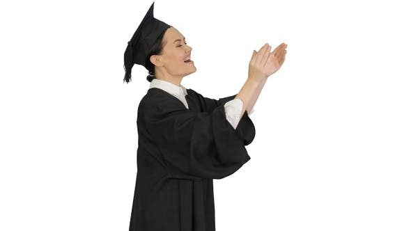 Thumbnail for Graduation student woman applauding smiling on white background.