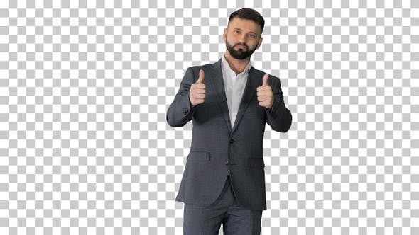 Thumbnail for Рandsome bearded business man thumbs-up, Alpha Channel