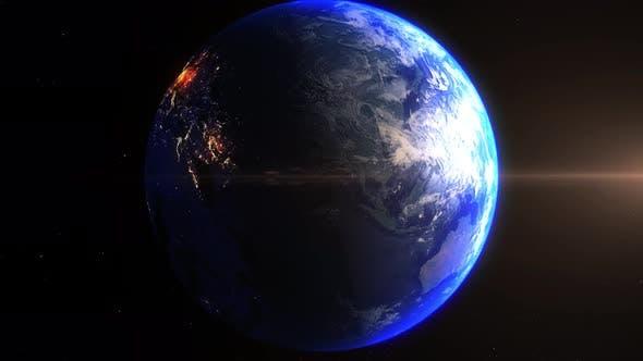 Thumbnail for Realistische Erde Zoom In Nachtlichter Wolken Ägypten Kairo Nil River