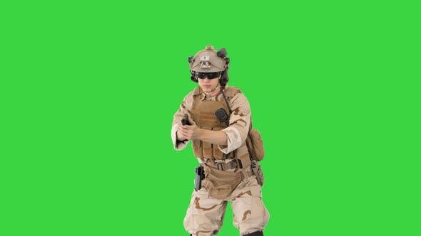 Thumbnail for Modern Soldier Counter Terrorist Squad Fighter Shooting Pistol Green Screen Chroma Key