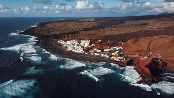 Flying Over Volcanic Lake El Golfo Lanzarote Canary Islands