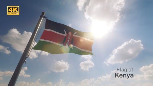 Kenya Flag on a Flagpole V2 - 4K