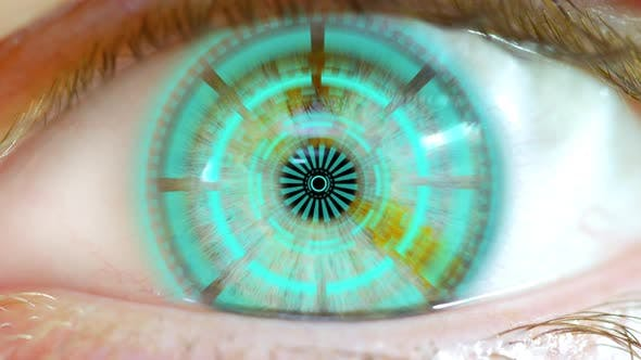 Thumbnail for Opening Eye To Reveal Digital Hud Hologram Over Pupil Blue 01