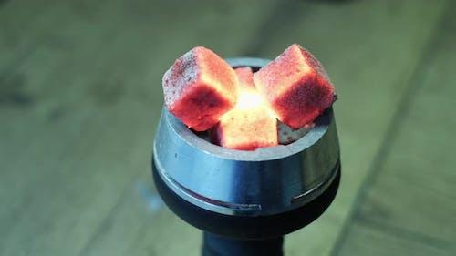 Close up of red hot coals
