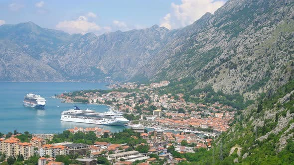 Thumbnail for Two Cruise Ship Travel Between Mountains, Kotor Bay Fjords, Montenegro