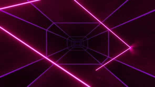 Pink Neon Ray Moving and Bouncing in Hexagon Dark Tunnel