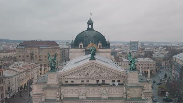 Thumbnail for Aerial City Lviv, Ukraine. European City. Popular Areas of the City. Lviv Opera