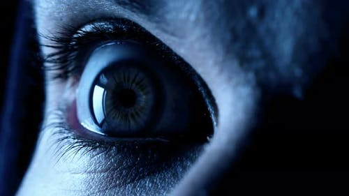 Geschlossenes Auge, das sich öffnet: Angst, Schreck