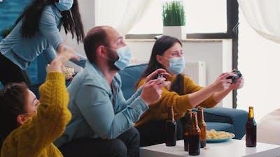 Multiracial People Celebrate Winning Game