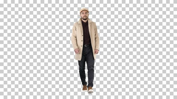 Thumbnail for Man with Dark Beard in Light Trench Coat Walks, Alpha Channel