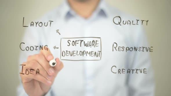 Software Development, Businessman Writing on Transparent Screen