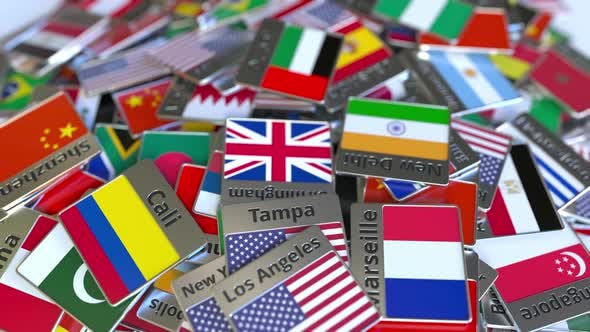Thumbnail for Souvenir Magnet or Badge with Dubai Text and Flag