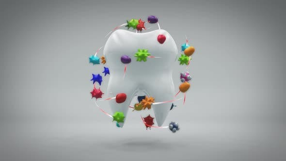 Health concept of a rendered tooth with microbes