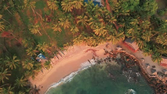 Thumbnail for Romantic Sunset on a Tropical Beach with Palm Trees Sri Lanka Drone Footage