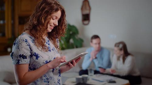 Woman Browsing Digital Tablet Doing Online Shopping