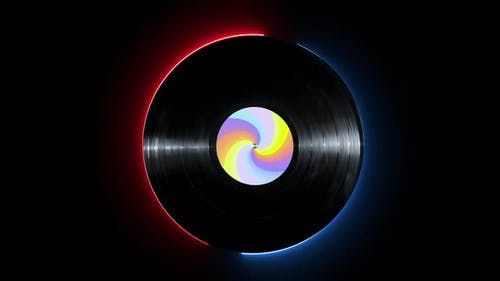 Glowing Neon Line Vinyl Disk with Colorful Sticker Rotating on Isolated on Black Background