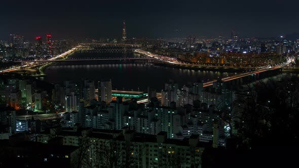 Thumbnail for Aerial Korea Building and Cityscape at Seoul Night