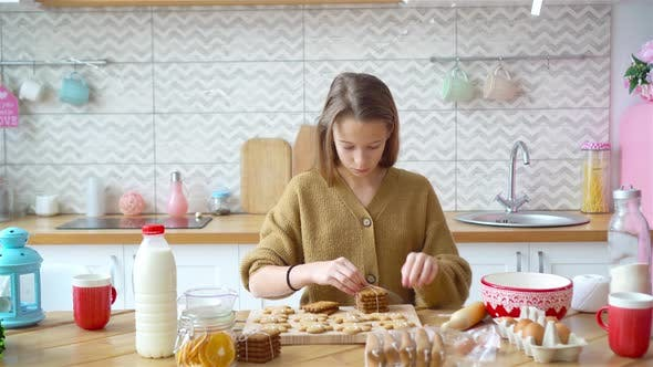 Adorable Little Girl Baking Christmas Gingerbread Cookies