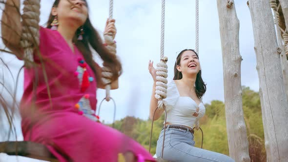 young attractive asian female friend woman enjoy together leisure relax weekend