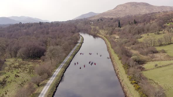 A Group of Canoeists on a Canal in Scotland From the Air