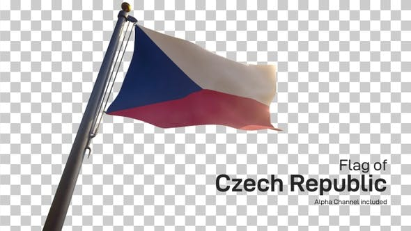 Czech Republic Flag on a Flagpole with Alpha-Channel