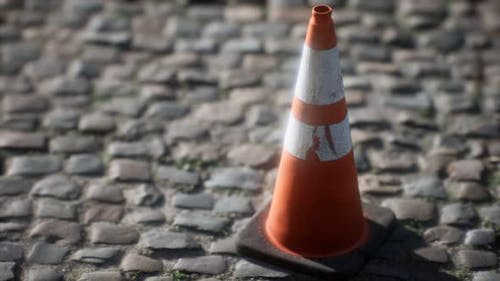 Orange White Striped Traffic Cone