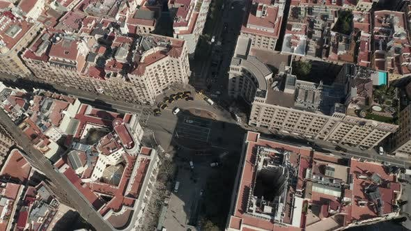Thumbnail for AERIAL: Overhead View of Typical Barcelona, Spain Intersection