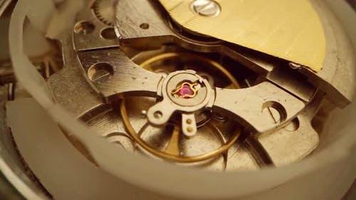 Close Up of Watch Mechanism Working