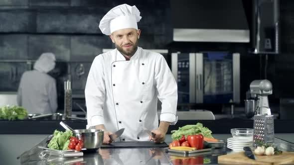 Thumbnail for Chef Man Making Fun at Kitchen Restaurant