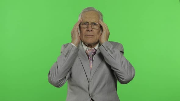 Thumbnail for Elderly Businessman in Suit Suffer By Headache Pain Trouble. Old Senior Man