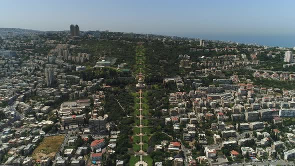 Aerial shot of Baha'i Gardens and buildings
