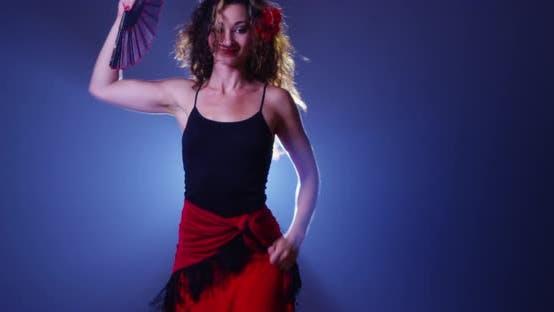 Sexy mixed race woman flamenco dancing
