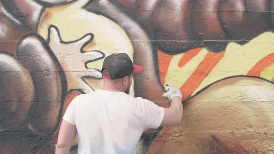 Graffiti Artist with Aerosol Spray Bottle