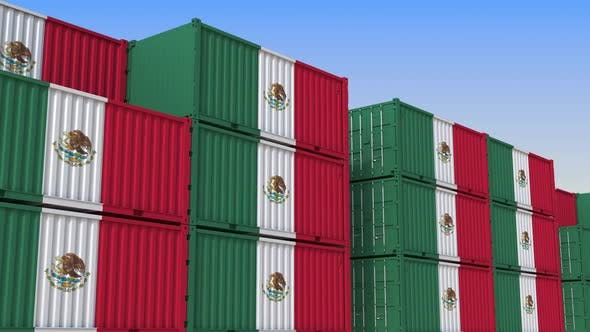 Container Terminal with Containers with Flag of Mexico