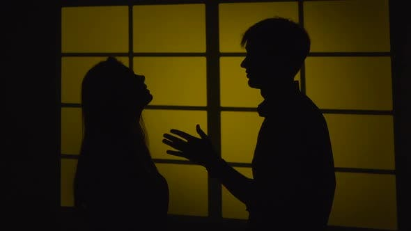 Thumbnail for Domestic Violence. Silhouette. Slow Motion. Close Up