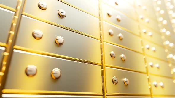 Thumbnail for Golden Safe Deposit Boxes in a Bright Bank Vault Room