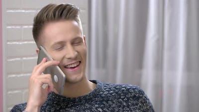 Happy Man on the Phone