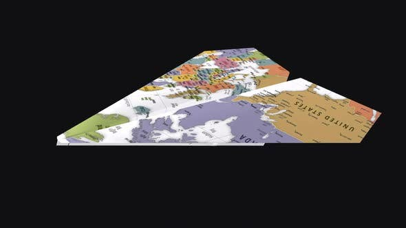 Thumbnail for Paper Plane -  World Map - Side Angle - I - Transparent Loop