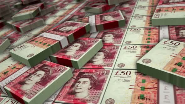 Pound Sterling money banknote pack loop animation