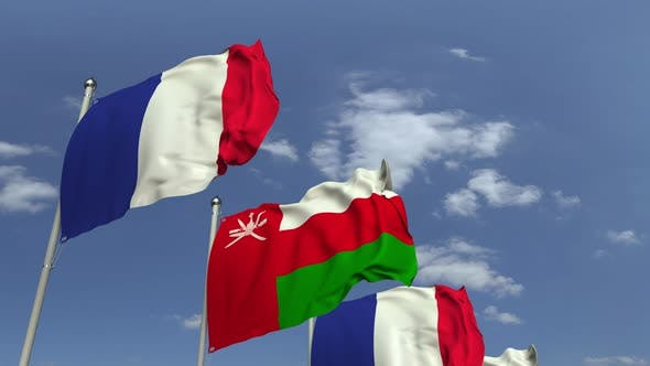 Thumbnail for Flags of Oman and France at International Meeting