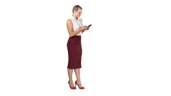 Thumbnail for Pretty business woman using cell phone texting something