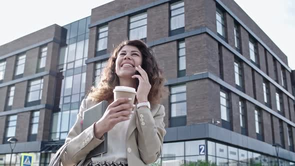 Thumbnail for Joyous Young Business Lady Talking on Phone at Sunny Day