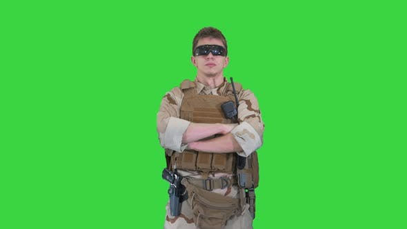 Thumbnail for US Marine Ranger with Folded Arms on a Green Screen, Chroma Key.