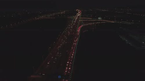 Aerial Top View of Highway Interchange at Night