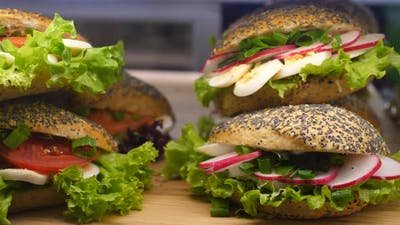 Variety of Healthy Organic Vegetarian Sandwiches on a Display