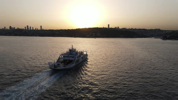 Aerial View Ferry Boats Sunset